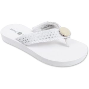 white sandals with silver and white polka dot strap and white button in center switch flops by lindsay phillips
