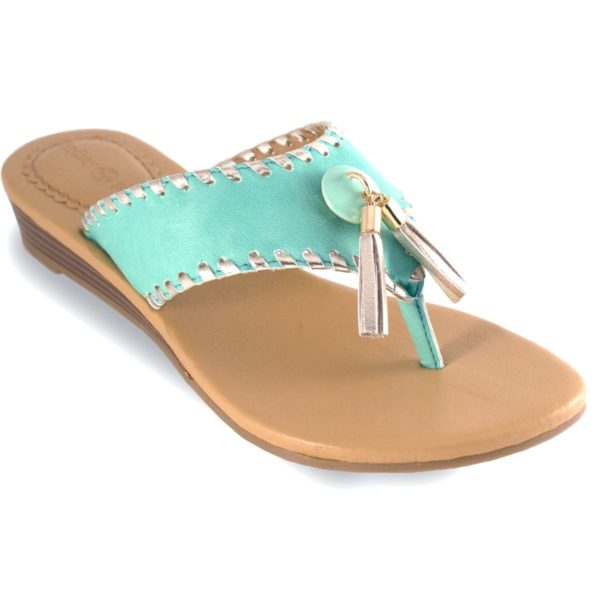 """Margo Turquoise Turquoise 1"""" wedge thong sandal with metallic whipstitch switch flops by lindsay phillips"""