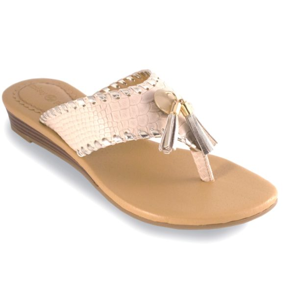 """Margo Cream Cream snake 1"""" wedge thong sandal with metallic whipstich switch flops by lindsay phillips"""