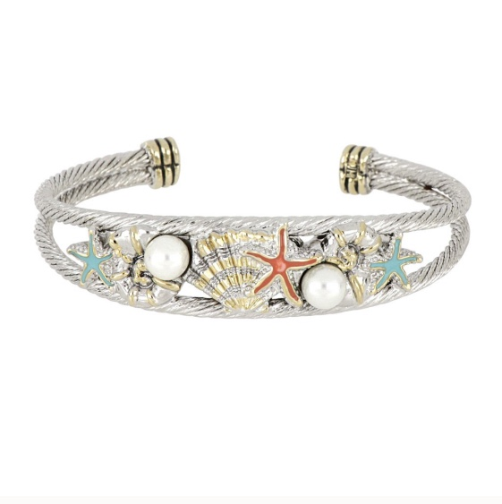 """Caraíba Collection Double Wire Cuff Bracelet by John Medeiros Jewelry Collections. Let the ocean vibe of the Caribbean shine through your style. Caraíba highlights nautilus, starfish and seashell elements. Center Motif: 2""""W x 5/8""""H"""