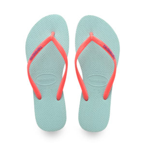 WOMEN'S SLIM LOGO POP UP FLIP FLOPS ICE BLUE/CORAL