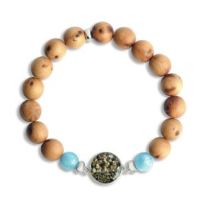 Men's Cypress and Aquamarine Beaded Bracelet