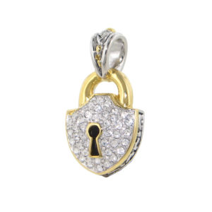 two tone pave Lock Pendant