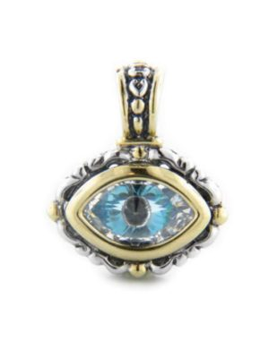 two tone Little Inspirations Evil Eye SLIDER Charm handcrafted in USA by John Medeiros