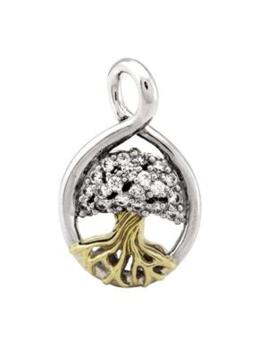 two tone pave accented tree of life handcrafted by john medeiros