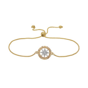 Compass Rose Yellow and White Gold Sliding Bracelet with Diamonds