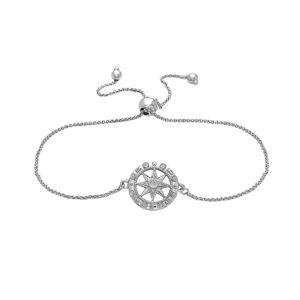 Compass Rose White Gold Sliding Bracelet with Diamonds