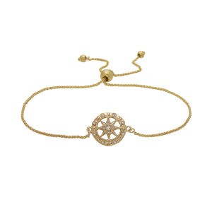 Compass Rose Yellow Gold Sliding Bracelet with Diamonds