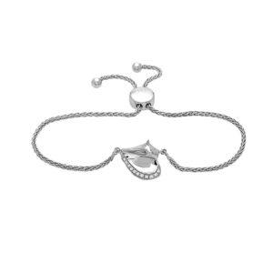 Conch Shell White Gold Sliding Bracelet with Diamonds