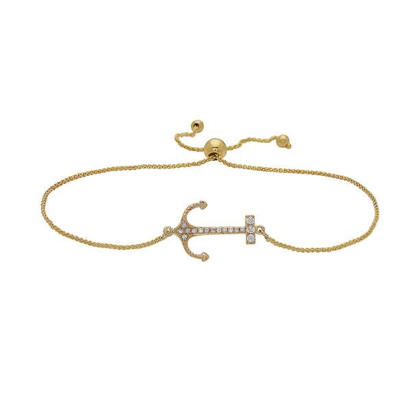 Anchor Yellow Gold Sliding Bracelet with Diamonds