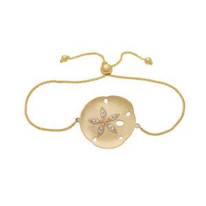 Sand Dollar Yellow Gold Sliding Bracelet with Diamonds
