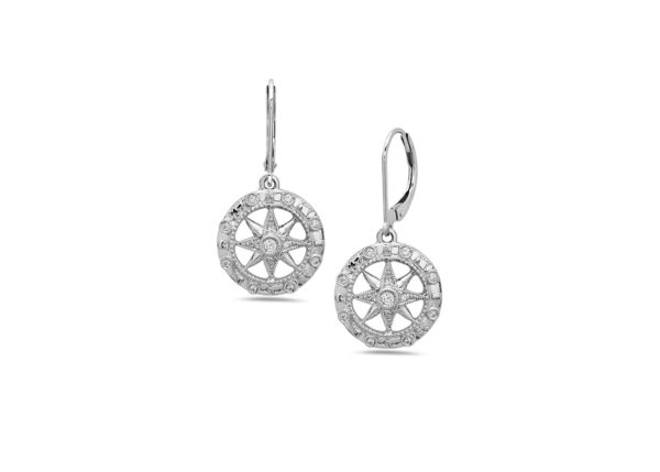 Compass Rose White Gold Earrings with Diamonds