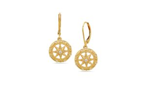 Compass Rose Yellow Gold Earrings with Diamonds