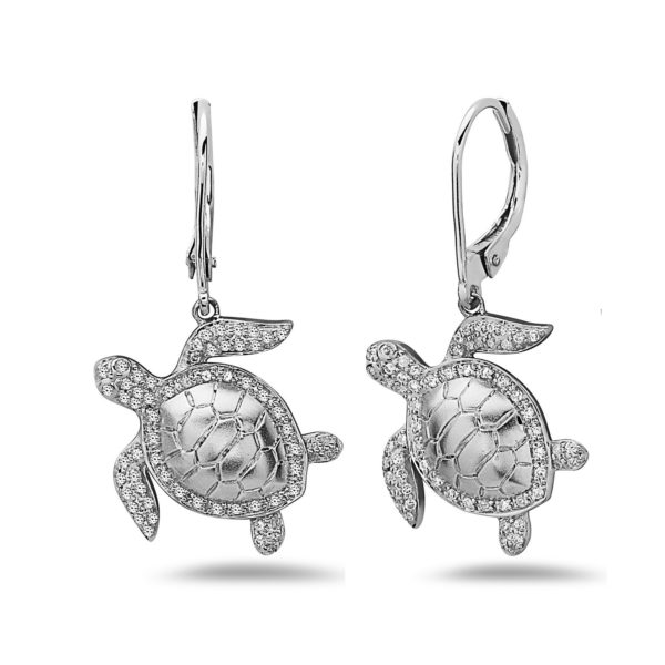 Sea Turtle White Gold Earrings with Diamonds
