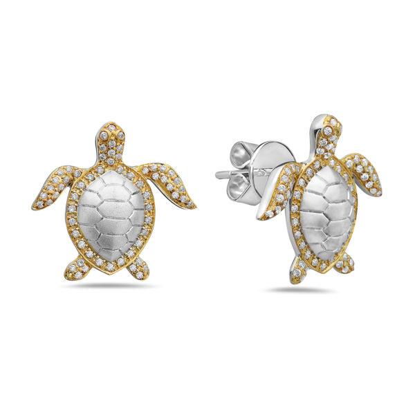 Sea Turtle Yellow Gold Earrings with Diamonds
