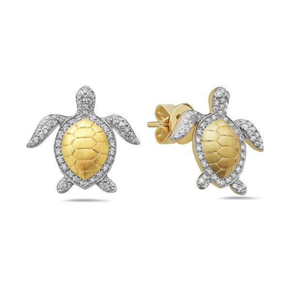 Sea Turtle Yellow & White Gold Earrings with Diamonds