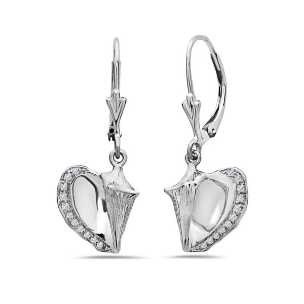 Conch Shell White Gold Earrings with Diamonds