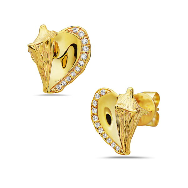 Conch Shell Yellow Gold Earrings with Diamonds