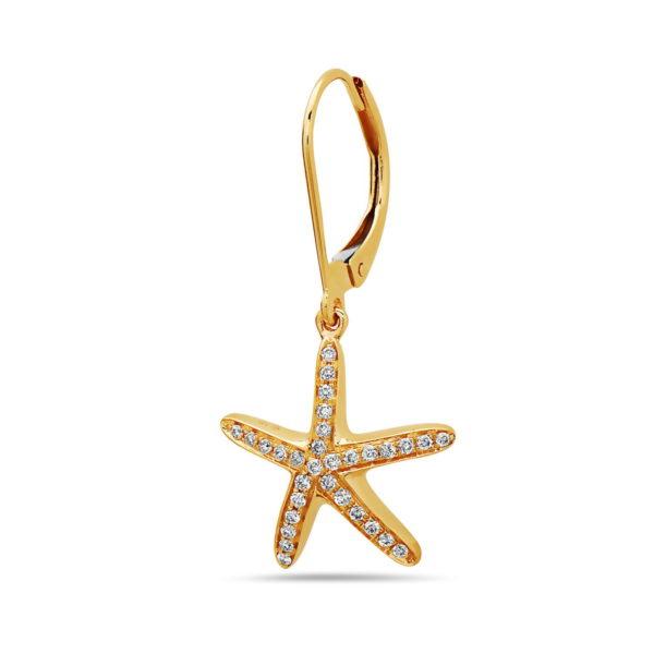 Starfish Yellow Gold Earrings with Diamonds