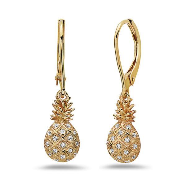Pineapple Yellow Gold Earrings with Diamonds