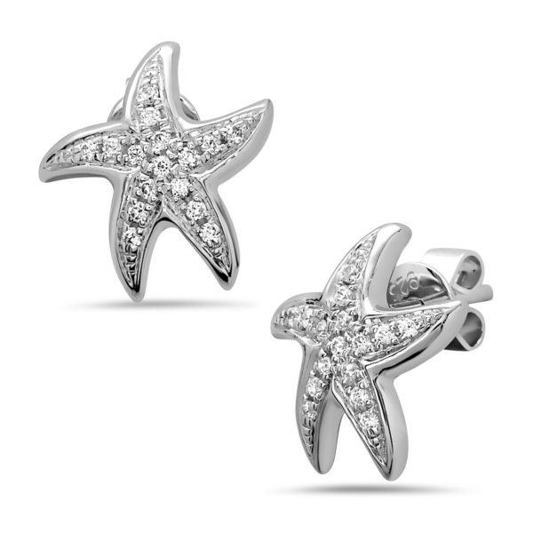 Starfish White Gold Earrings with Diamonds
