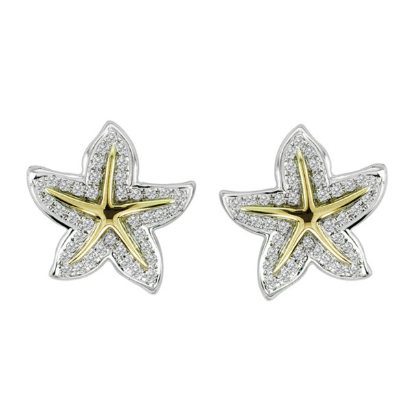 Frangipani Flower Yellow & White Gold Earrings with Diamonds