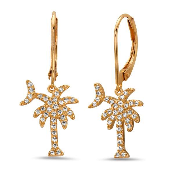 Palm Tree & Moon Yellow Gold Earrings with Diamonds