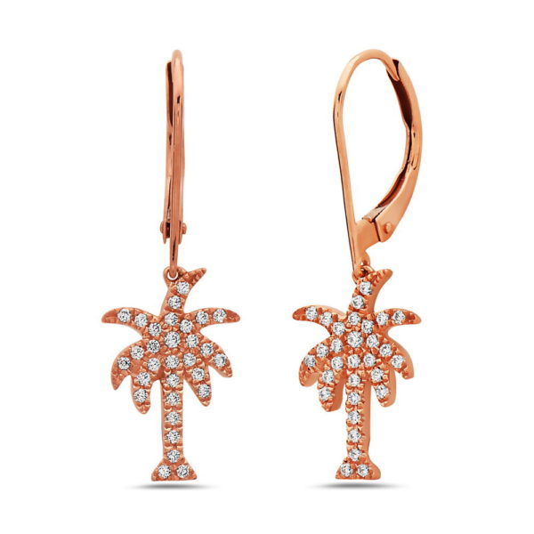 Palm Tree Rose Gold Earrings with Diamonds