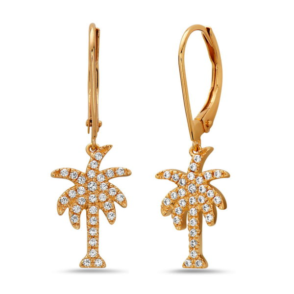 Palm Tree Yellow Gold Earrings with Diamonds