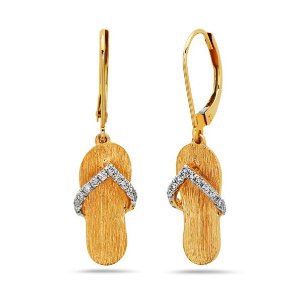 Flip Flop Yellow Gold Earrings with Diamonds