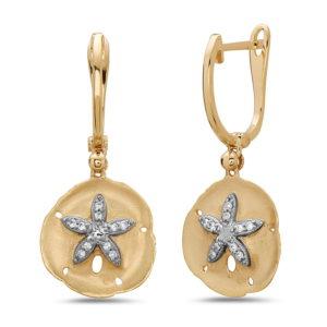 Sand Dollar Yellow Gold Earrings with Diamonds