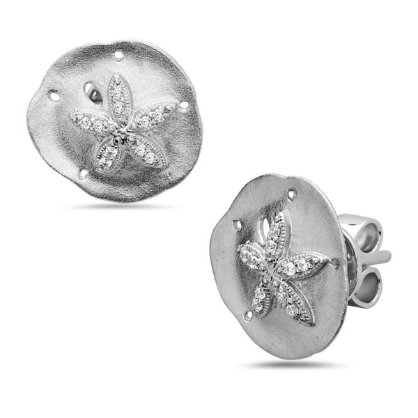 Sand Dollar White Gold Earrings with Diamonds