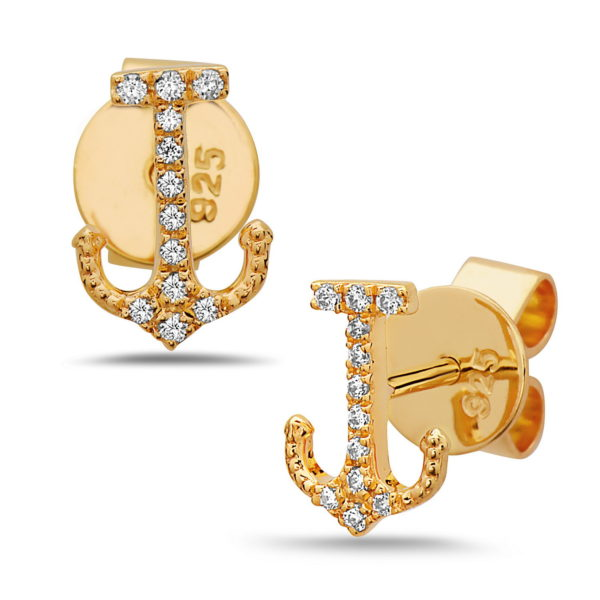 Anchor Yellow Gold Earrings with Diamonds