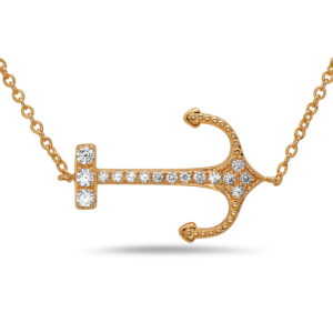 Sideways Anchor Yellow Gold Necklace with Diamonds