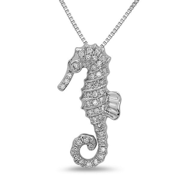 Seahorse White Gold Pendant with Diamonds