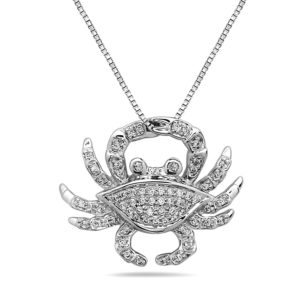 Crab White Gold Pendant with Diamonds