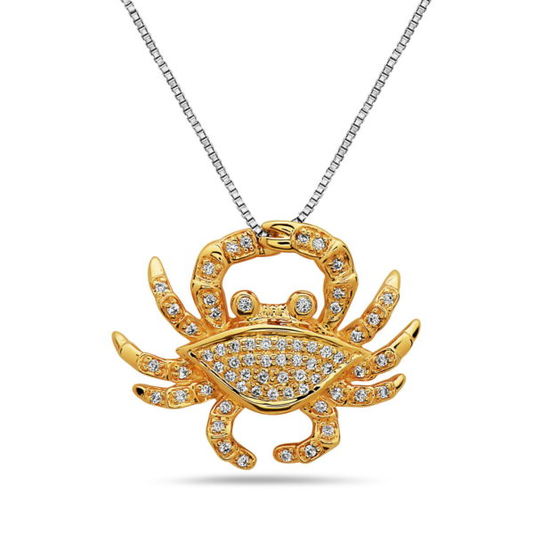 Small Crab Yellow Gold Pendant with Diamonds