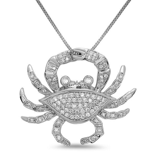Medium Crab White Gold Pendant with Diamonds
