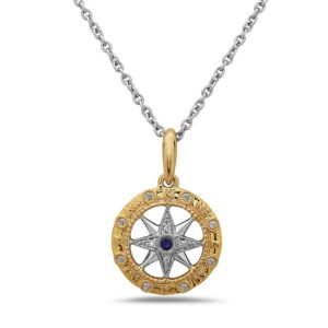 Compass Yellow and White Gold Pendant with Diamonds