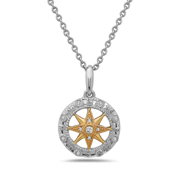 Small Compass Yellow & White Gold Pendant with Diamonds