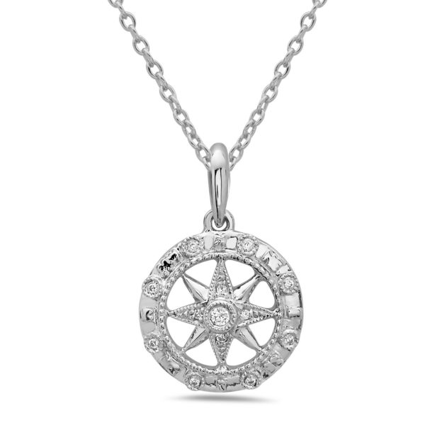 Compass White Gold Pendant with Diamonds