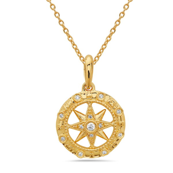 Small Compass Yellow Gold Pendant with Diamonds