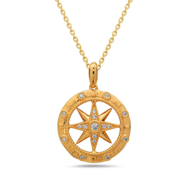 Medium Compass Yellow Gold Pendant with Diamonds
