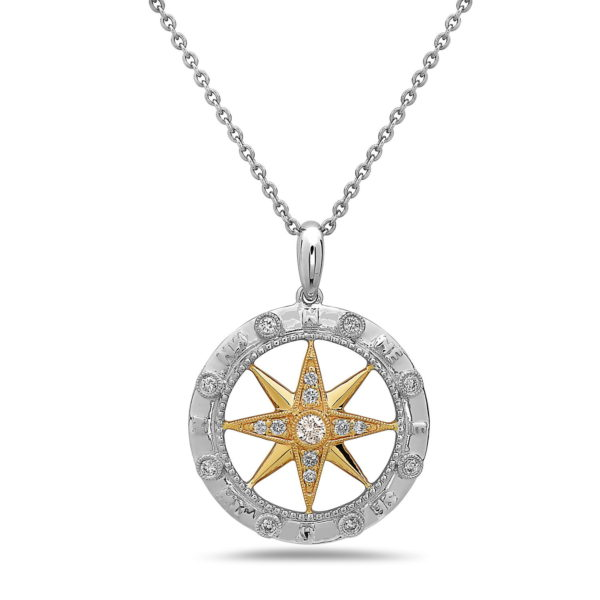 Large Compass Yellow & White Gold Pendant with Diamonds