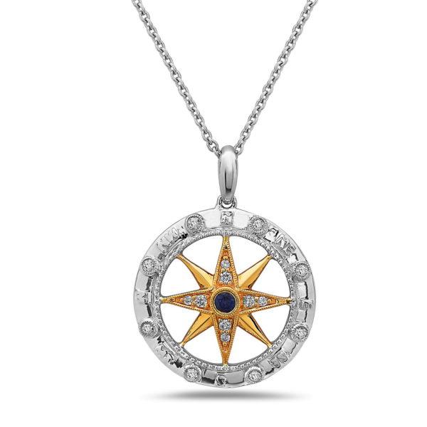 Compass Yellow & White Gold Pendant with Diamonds & Sapphire