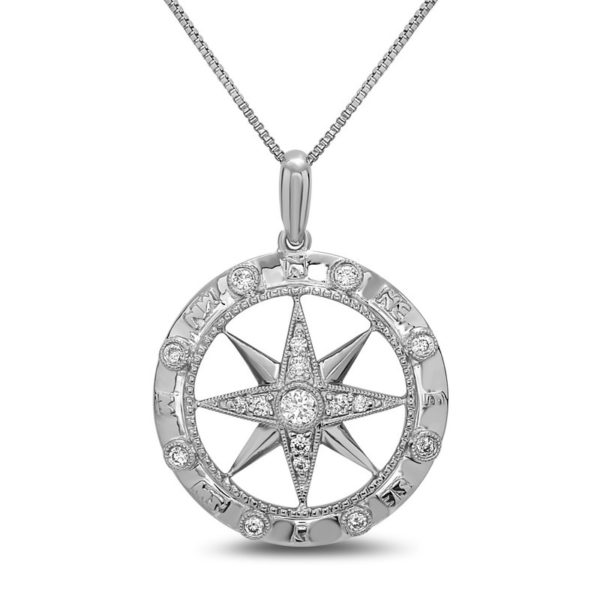 Large Compass White Gold Pendant with Diamonds