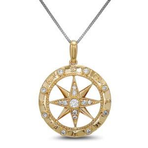 Compass Yellow Gold Pendant with Diamonds