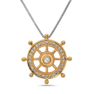 Ships Wheel Yellow Gold Pendant with Diamonds