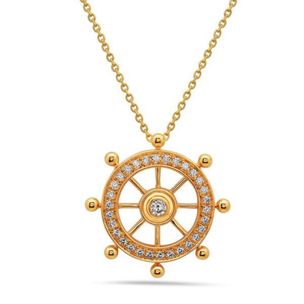 Ships Wheel Gold Pendant with Diamonds