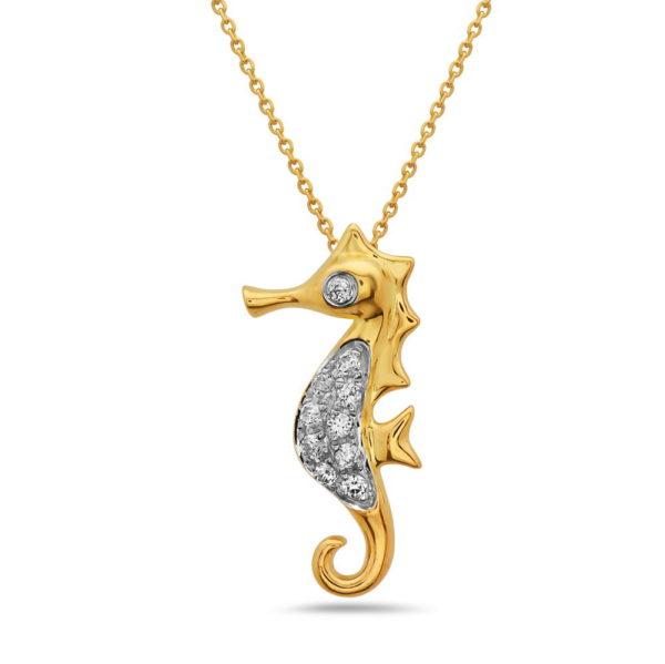 Seahorse Yellow Gold Pendant with Diamonds